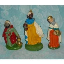 1950s Christmas Decorations - 3 Wisemen. Religious Nativity Plaster Statue Figure Set – Caspar, Melchoir, & Balthazar for Creche Scene. Made in Italy