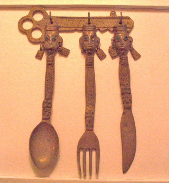 african native hanging flatware