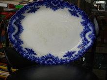 flow blue platter by clifton circa 1870