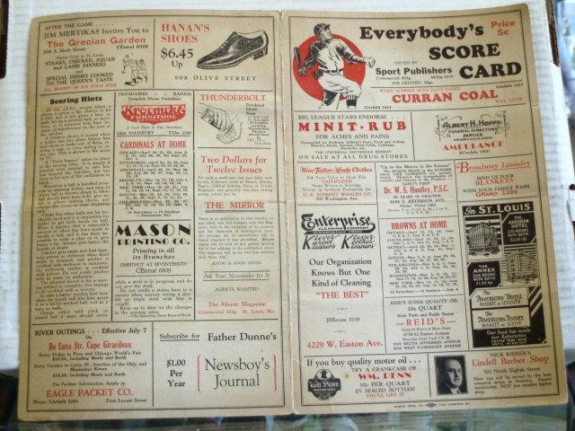 1940 scorecard browns vs. red soxs