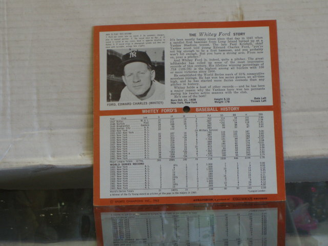whitey ford picture records 33 1/3 rpm  stats from 1947 - 63