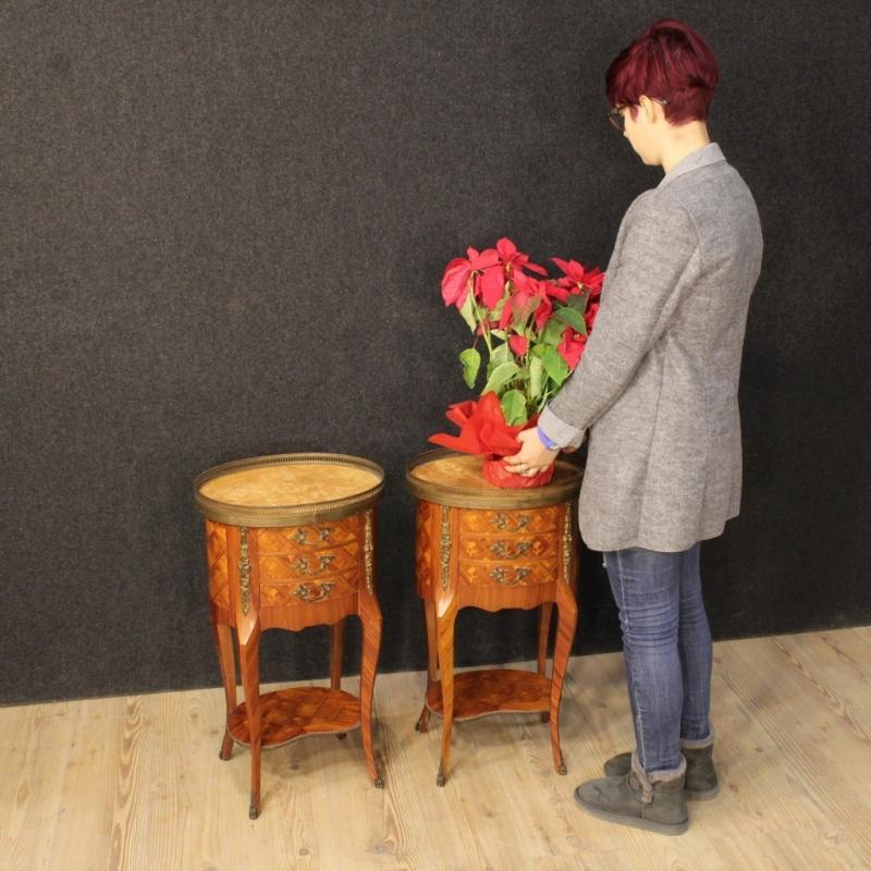 20th Century Pair Of French Inlaid Bedside Tables