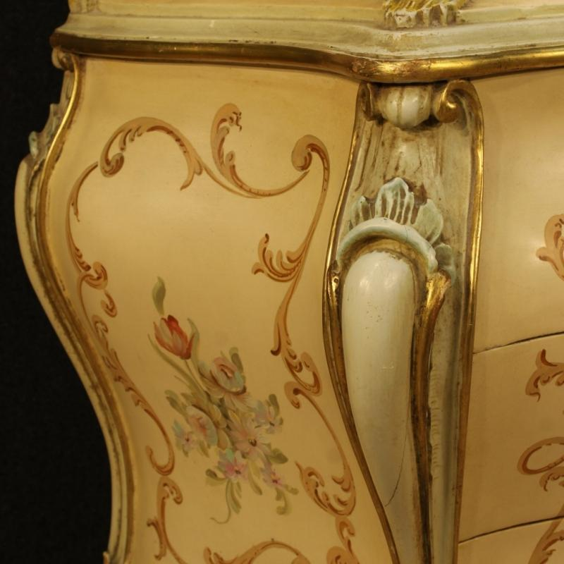 20th Century Venetian Lacquered, Gilded And Painted Bureau