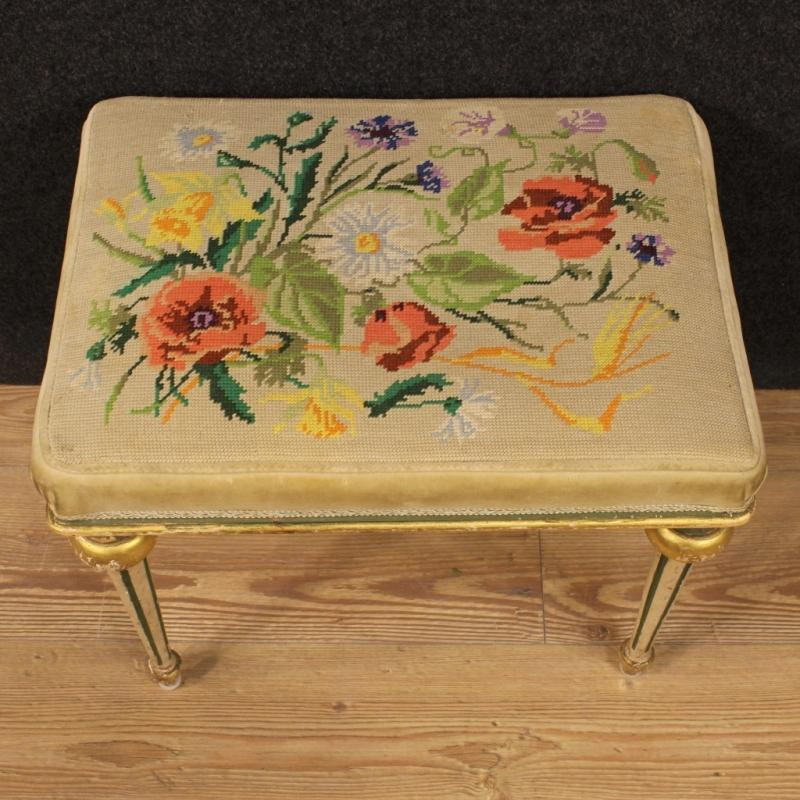 20th Century Pair Of Italian Lacquered And Gold Footstools