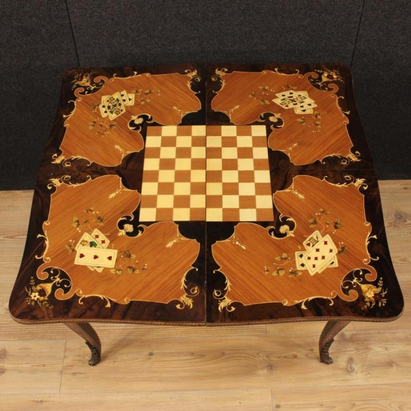 20th Century Italian Inlaid Card Table With Bronzes