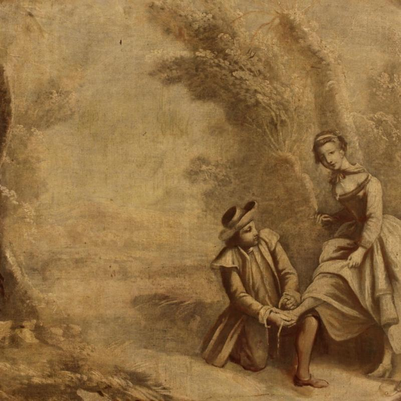 19th Century French Landscape Painting With Romantic Scene