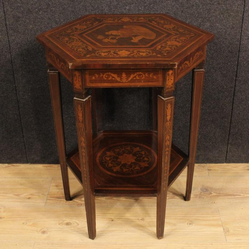 20th Century Italian Inlaid Side Table In Louis XVI Style
