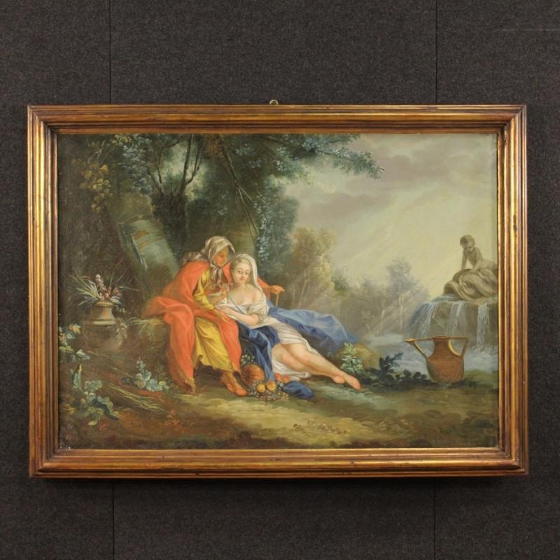 18th Century French Landscape Painting With Characters