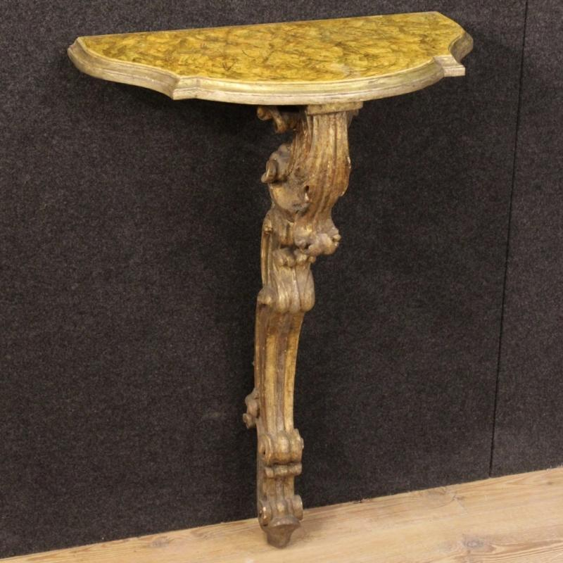 20th Century Italian Lacquered And Gilt Console Table