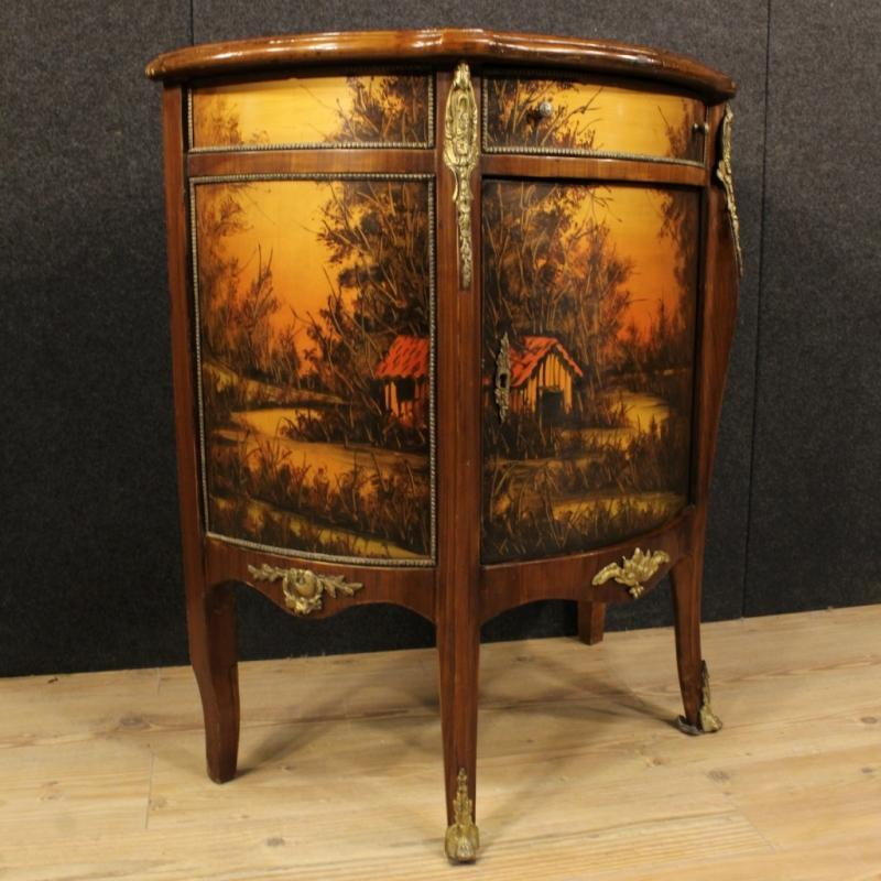 20th Century French Demi Lune Sideboard Decorated With Bronzes