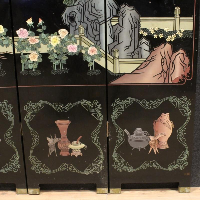 20th century French Lacquered And Painted Folding Screen