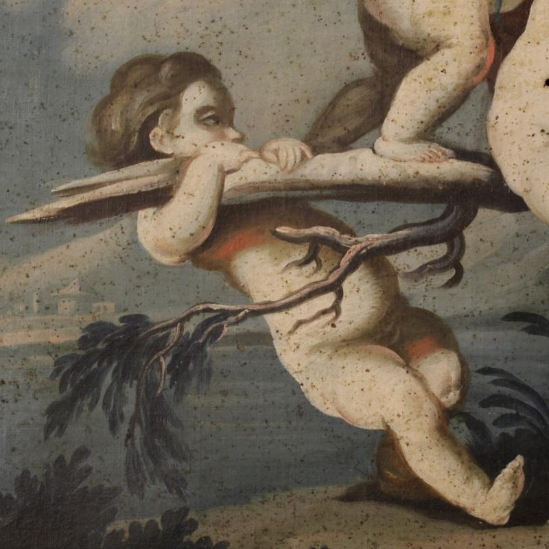 18th Century Italian Painting Landscape With Little Angels Game
