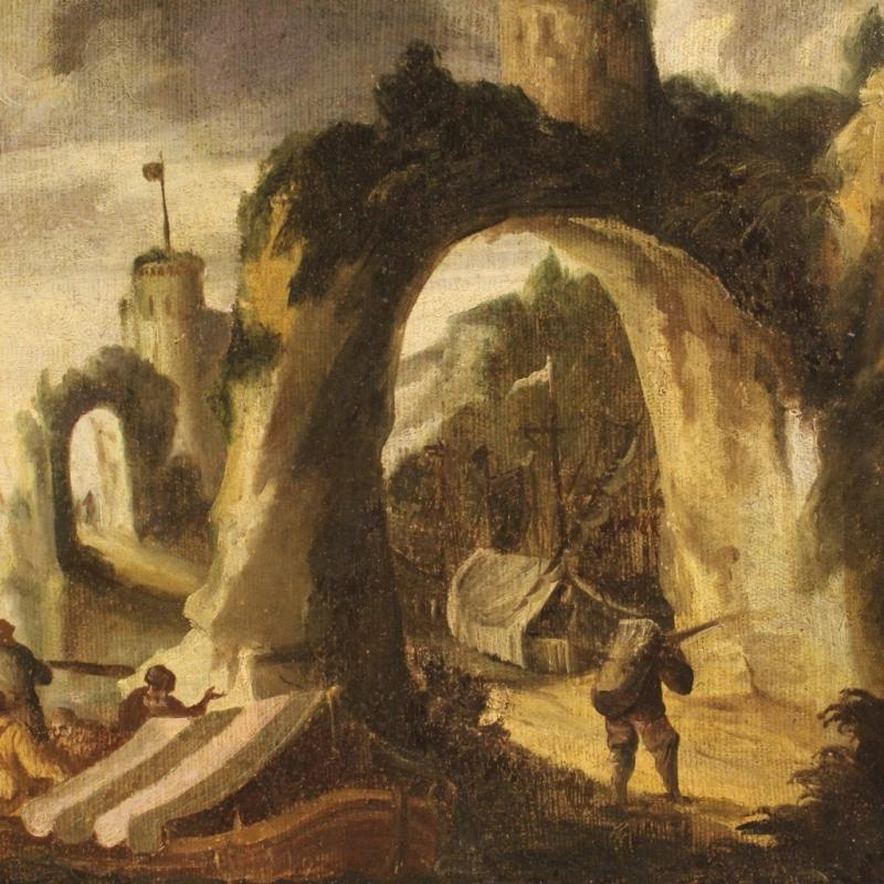 18th Century Italian Painting Seascape With Boats And Fishermen