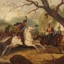 20th Century Italian Painting Battle With Knights