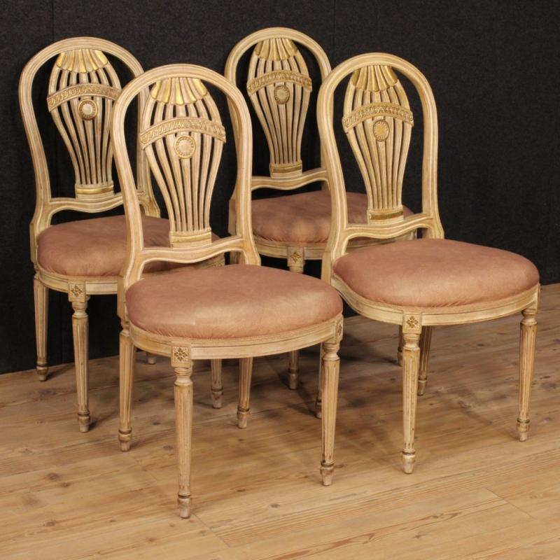 20th Century Group Of Four French Lacquered Chairs