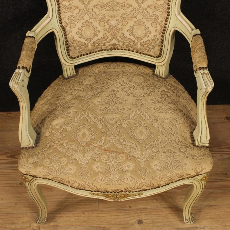 20th Century Pair Of Italian Lacquered And Gilt Armchairs