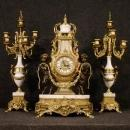 20th Century German Triptych Clock With Candlesticks