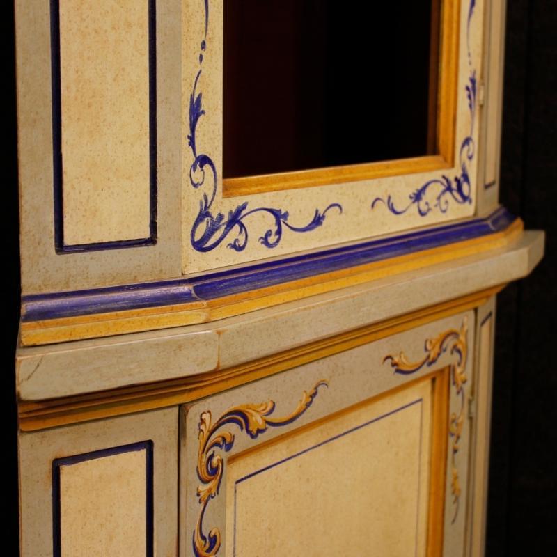 20th Century Italian Painted Corner Cupboard