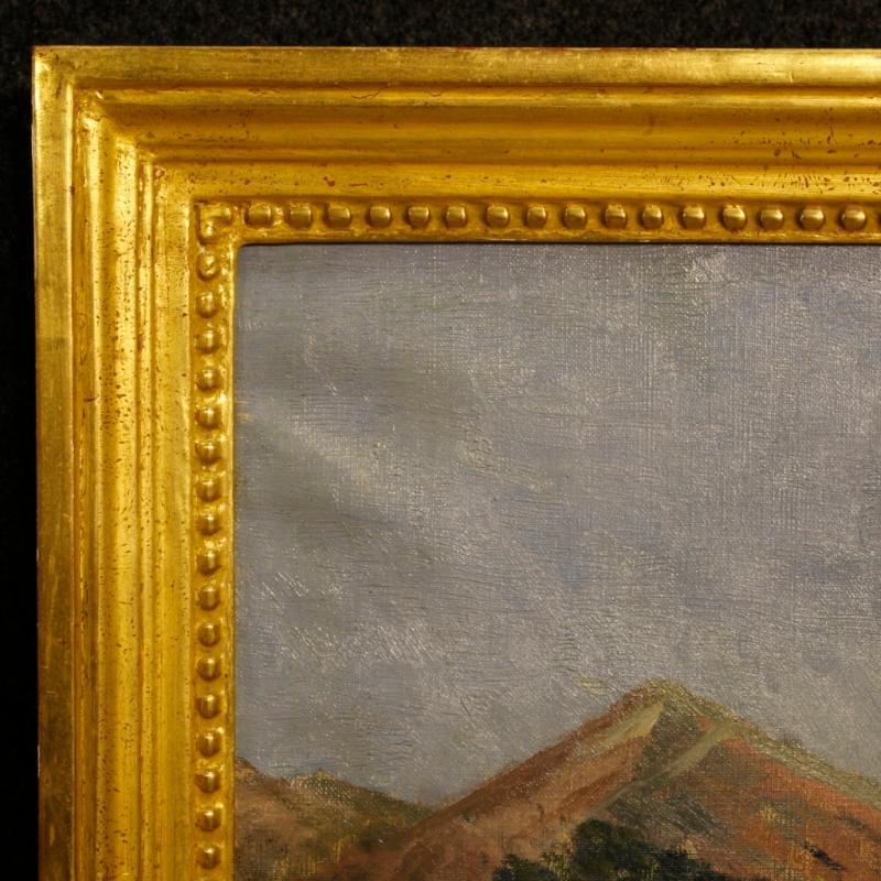 19th Century Italian Painting Landscape With Hunter