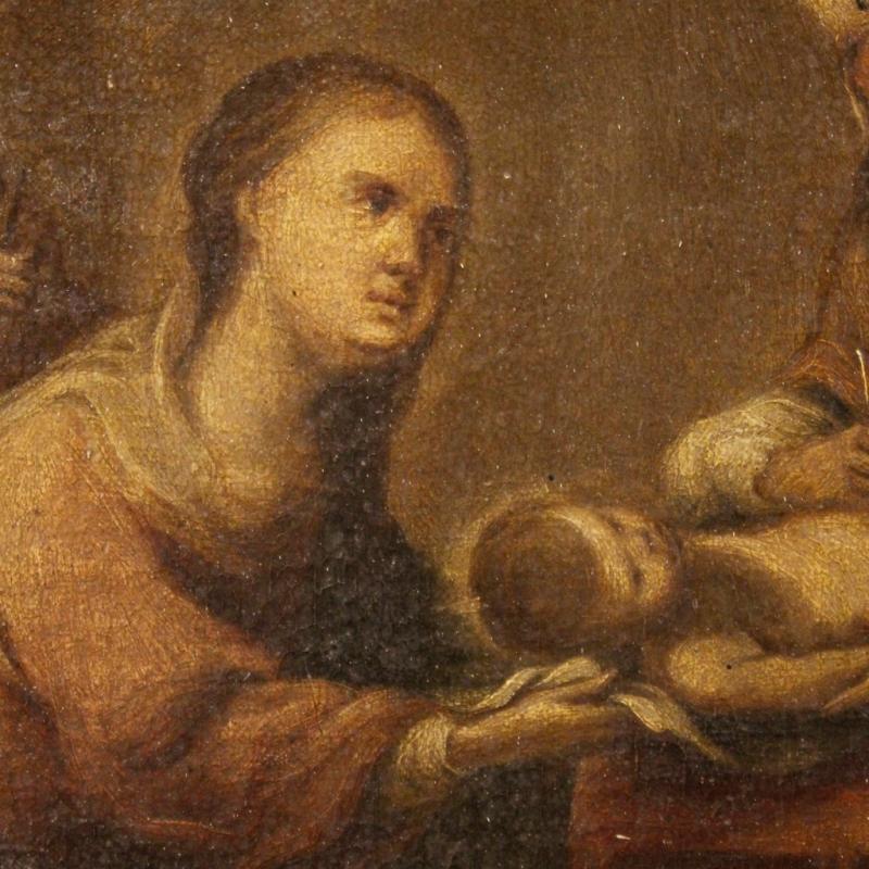 18th Century Spanish Religious Painting Circumcision Of Jesus