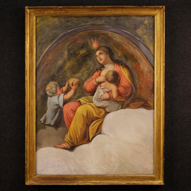 19th Century French Religious Painting Oil On Canvas