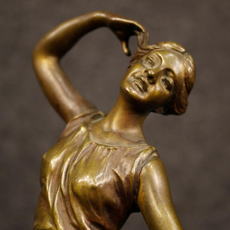 20th Century Italian Bronze Bell With Dancer Sculpture