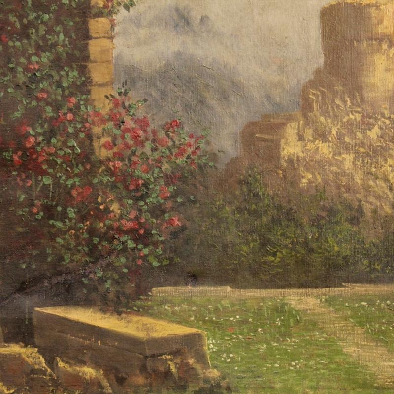 19th Century Italian Painting Landscape With Ruins