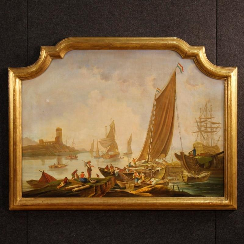 20th Century Italian Seascape Painting Oil On Canvas