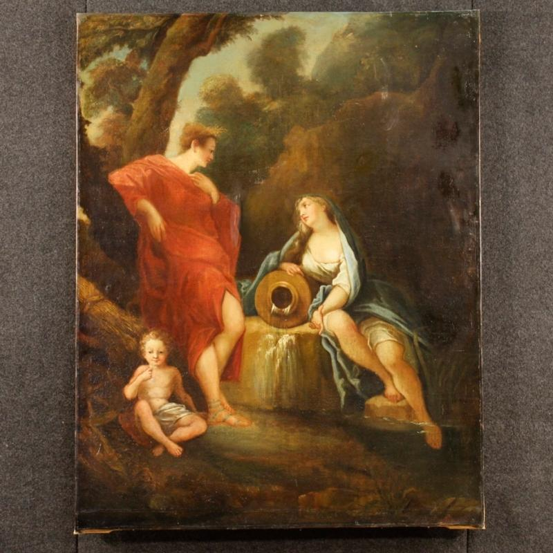 19th Century French Neoclassical Painting Oil On Canvas
