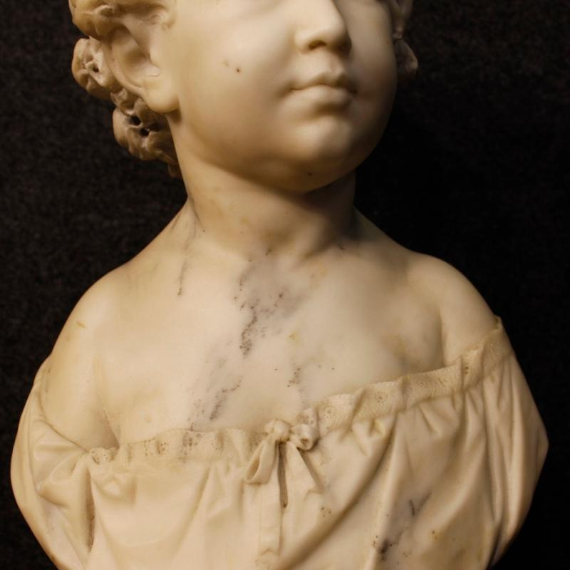 19th Century French Marble Sculpture Depicting Child Bust