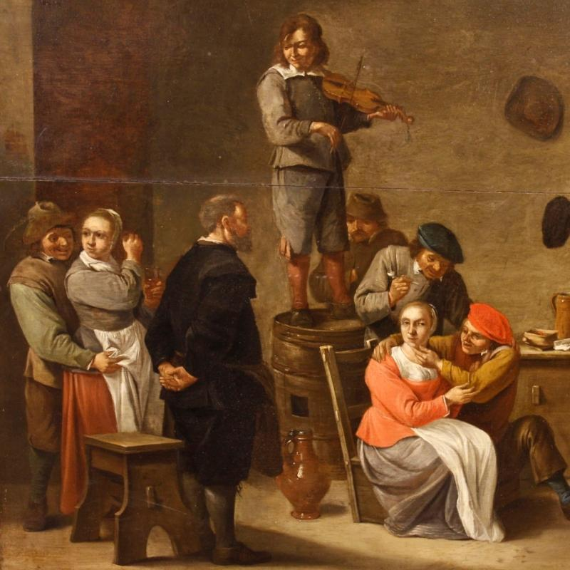 19th Century Dutch Oil Painting Interior Scene