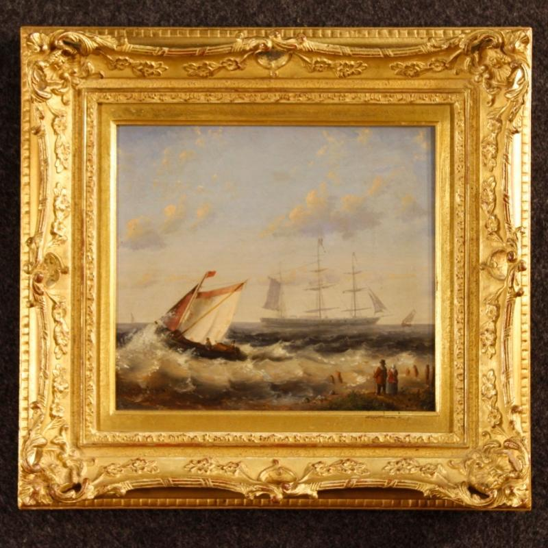 20th Century Dutch Seascape Painting Oil On Panel