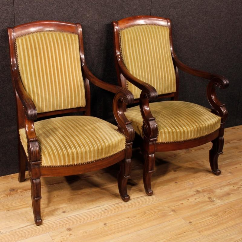 19th Century Pair Of French Armchairs In Mahogany Wood
