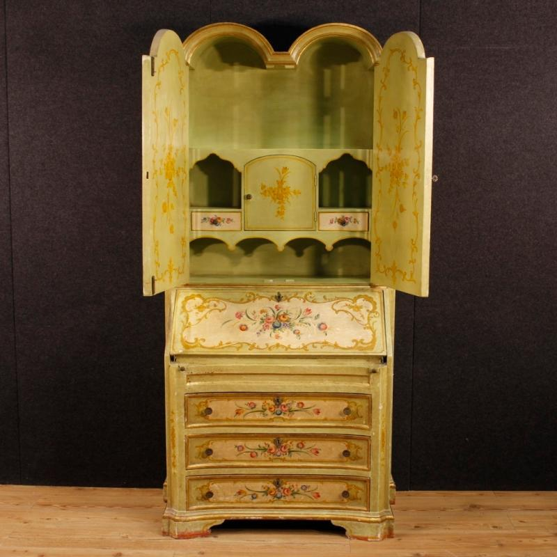 20th Century Venetian Lacquered, Gilt And Painted Trumeau
