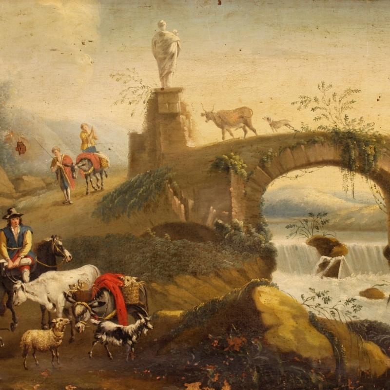 18th Century Italian Landscape Painting Oil On Canvas