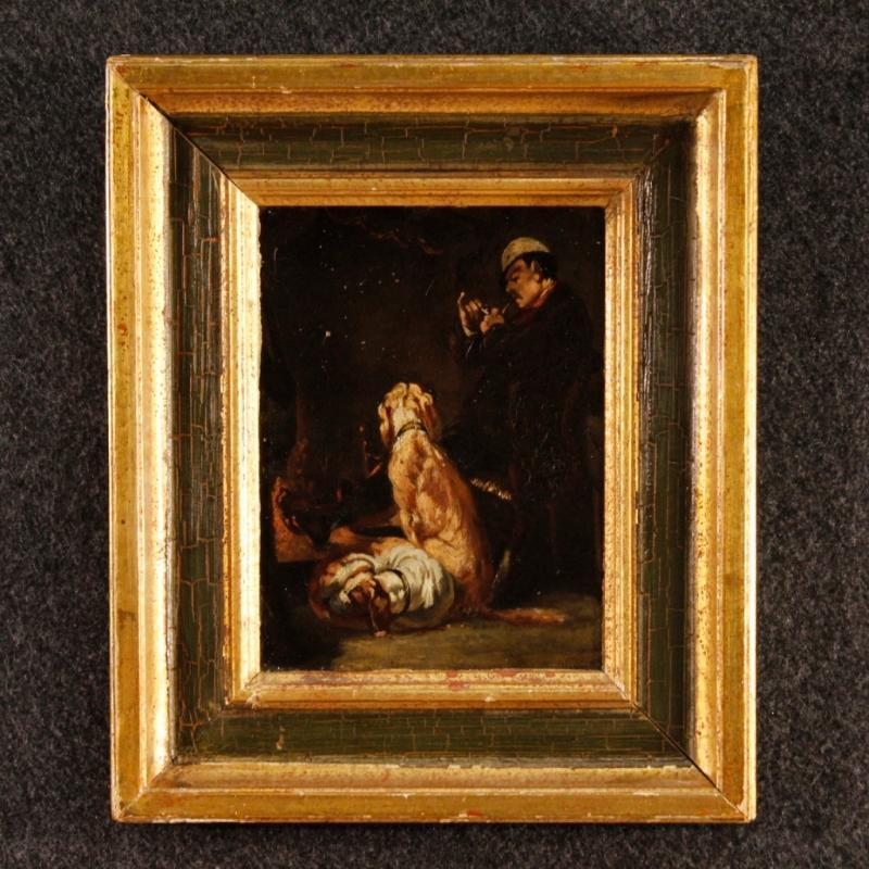 19th Century French Signed Interior Scene Painting