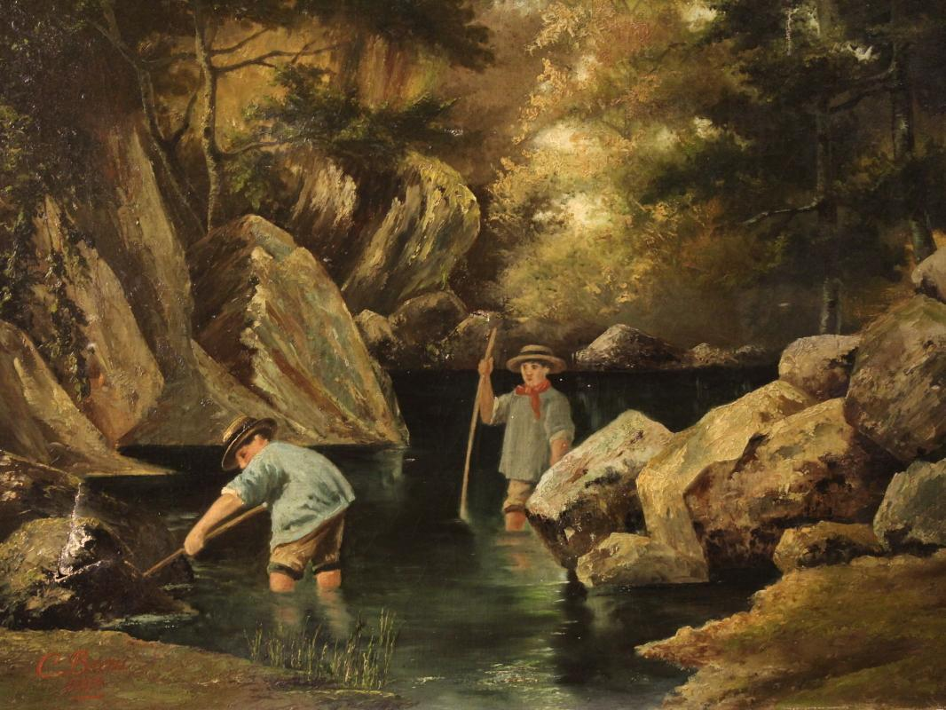 Signed painting Children at the river dated 1885