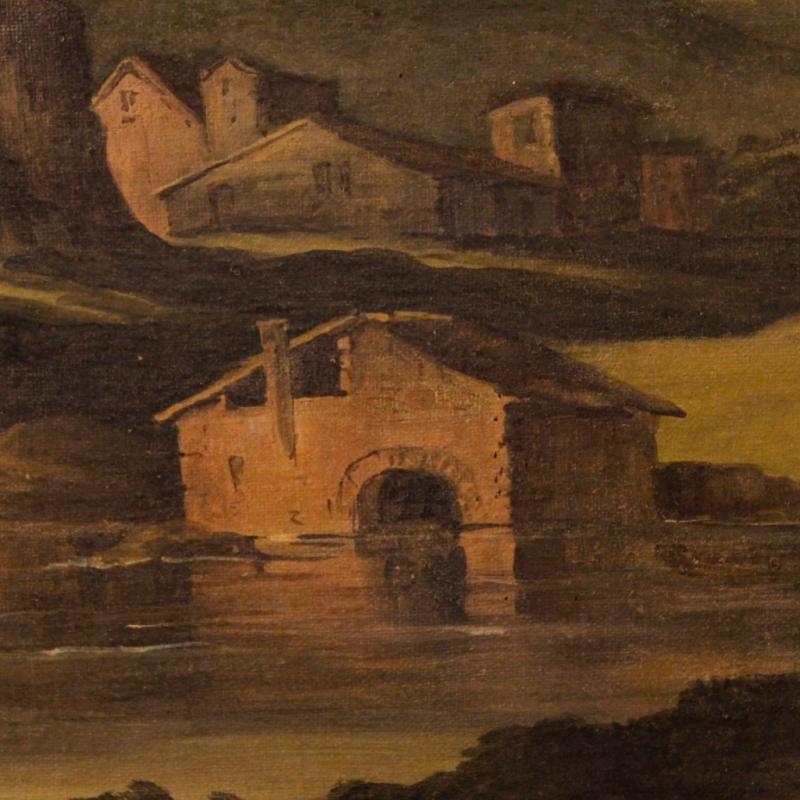 19th Century Italian Landscape Painting Oil On Canvas