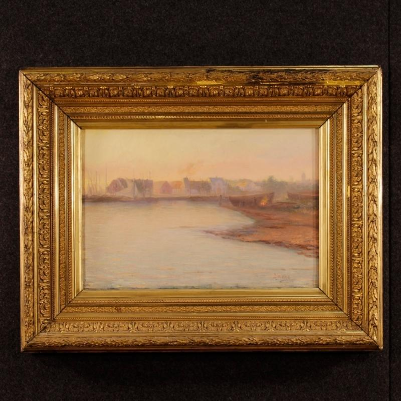 19th Century Impressionist Seascape Painting Oil On Canvas