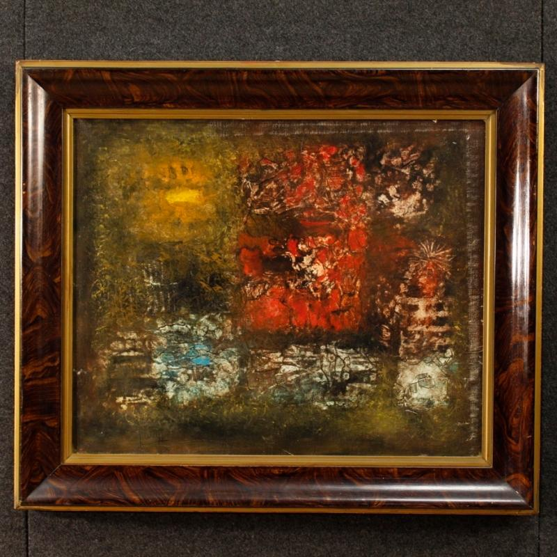 20th Century American Abstract Painting Oil On Canvas