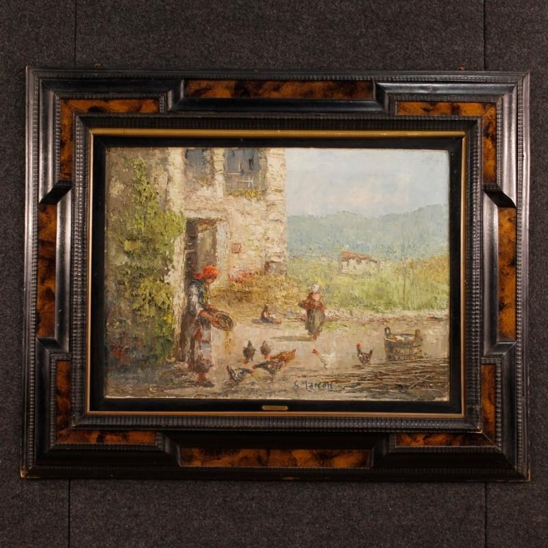 20th Century Italian Signed Oil Painting Depicting Rural Landscape