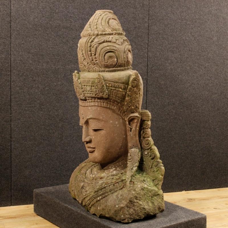 20th Century Stone Sculpture Representing Oriental Deity