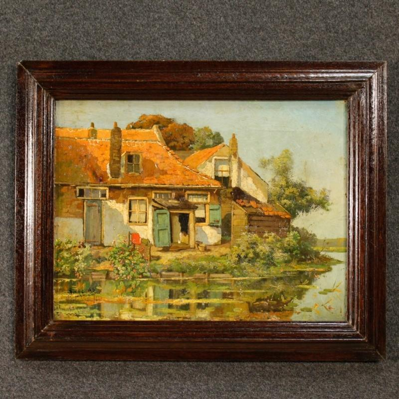20th Century Flemish Signed Landscape Painting Oil On Canvas
