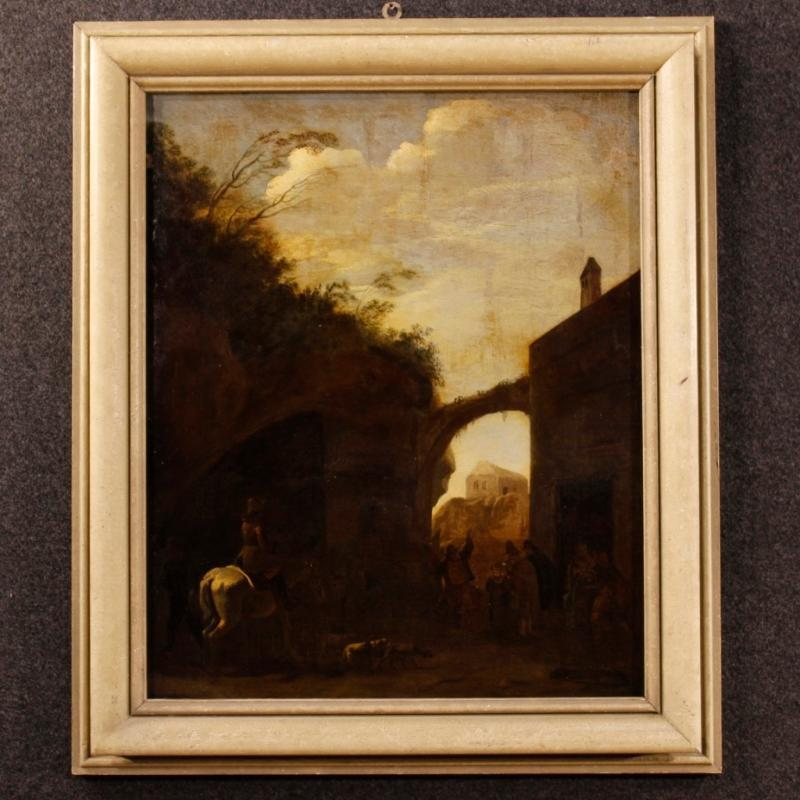 Dutch Landscape Oil Painting From 18th Century