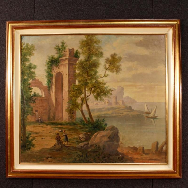 Italian Painting Seascape With Ruins And Characters From 20th Century