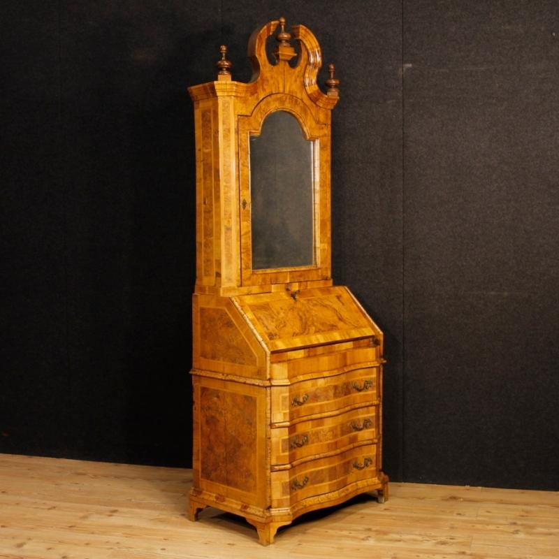 Venetian Inlaid Trumeau In Walnut Wood, 20th Century