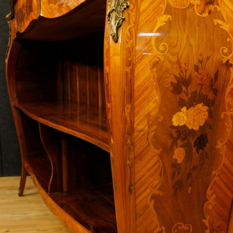 French Inlaid Bookcase Sideboard In Rosewood, Walnut, Maple