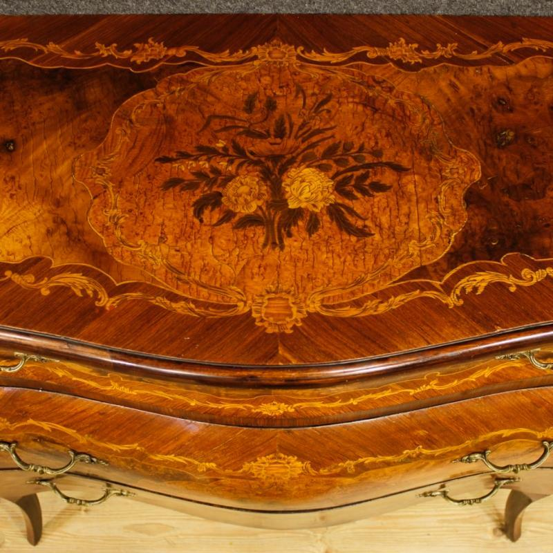 Italian Inlaid Dresser In Louis XV Style With 3 Drawers 20th Century