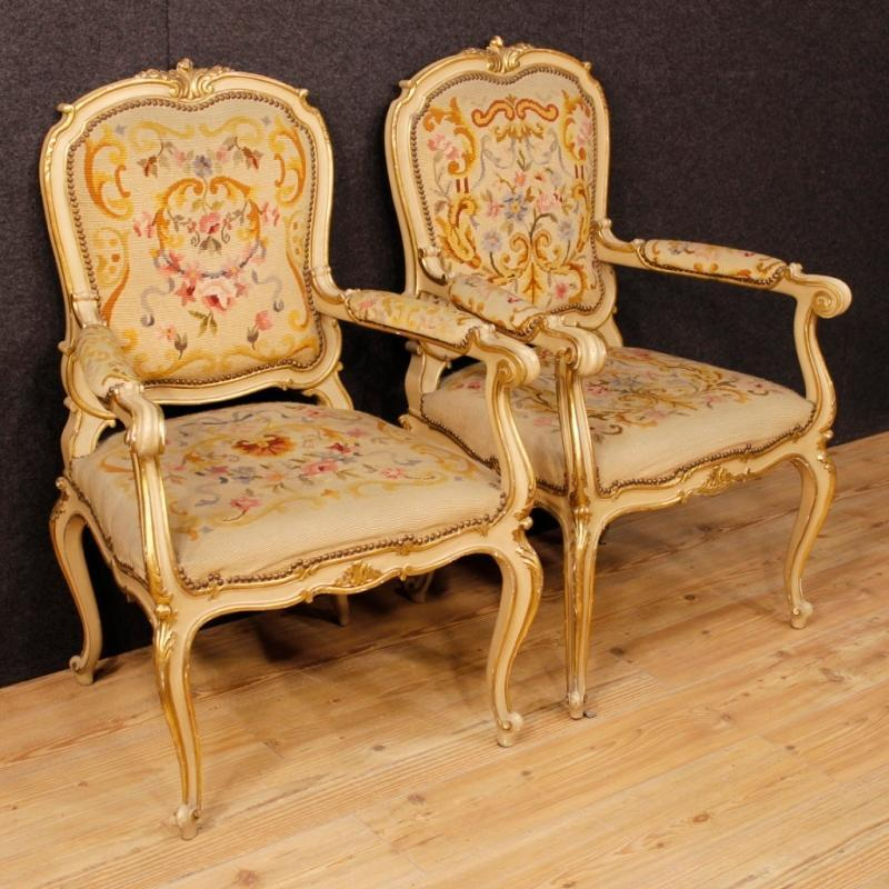 Pair Of Italian Lacquered Armchairs In Louis XV Style 20th Century