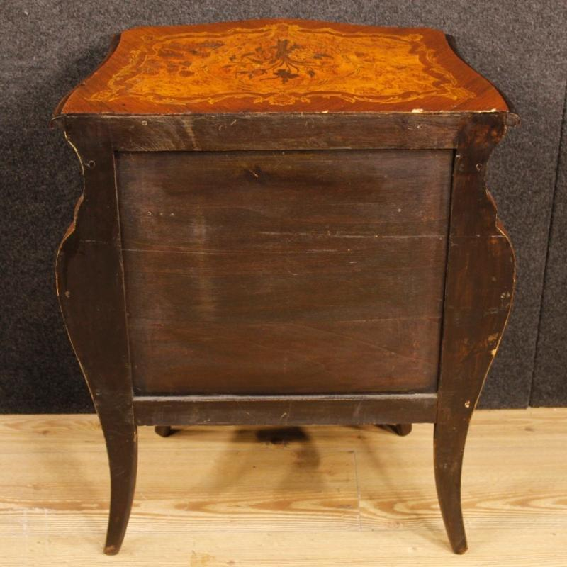 Pair Of Italian Inlaid Bedside Tables In Louis XV Style From 20th Century